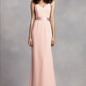 Long V Neck Gown with Open Back